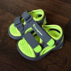 Champion baby boys 1 wide sandals lime gray shoes
